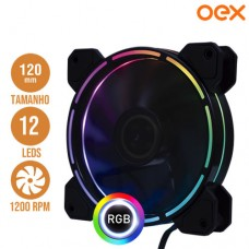 Cooler Fan para PC 12x12cm com 12 Leds RGB 1200 RPM OEX F40