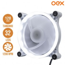 Cooler Fan para PC 12x12cm com 32 Leds Branco 1200 RPM OEX F50