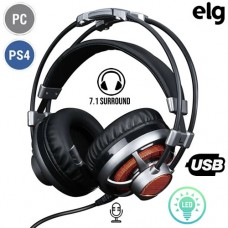 Headset Gamer USB para PC/PS4 c/ Microfone e LED 7.1 Surround Extreme HGSS71 Elg - Prata