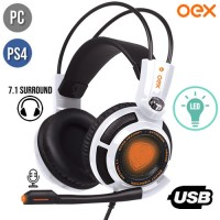 Headset Gamer USB para PC/PS4 Smart Vibration 7.1 Virtual Surround com Microfone e LED Extremor OEX HS400 - Branco