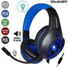 Headset Gamer P3 para PS3/PS4/PS5/Xbox One/Nintendo Switch Ajustável c/ LED e Microfone Space War TecDrive PX-12 - Azul
