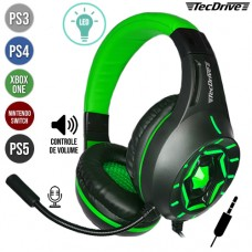 Headset Gamer P3 para PS3/PS4/PS5/Xbox One/Nintendo Switch Ajustável c/ LED e Microfone Space War TecDrive PX-12 - Verde