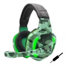 Headset Gamer P2 x2 p/ PC, PS4, Xbox One com LED TecDrive XP6 - Camuflado Naval Verde