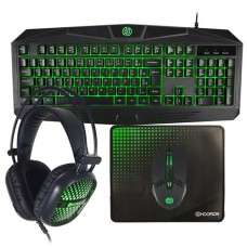 Kit Gamer 4 em 1 Teclado, Mouse, Mouse PAD e Headset c/ Fio Verde Hoopson TPC-050G