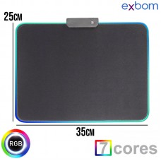 Mouse Pad Gamer 250x350x4mm Borda de LED RGB 7 Cores Exbom MP-LED2535