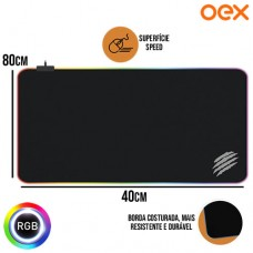 Mouse Pad Gamer Superfície Speed Antiderrapante c/ Borda de LED RGB 800x400x3mm Big Glow OEX MP311