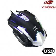 Mouse Gamer USB 6 Botões 2400Dpi MG-11BSI C3 Tech Preto Prata