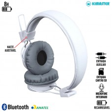 Headphone sem Fio Bluetooth/SD/P2 com Microfone Kimaster - K3X Branco