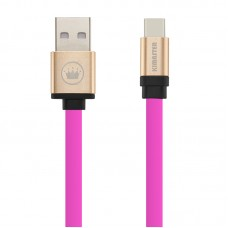 Cabo USB Type C Flat Duo Color Kimaster - CB317 Rosa