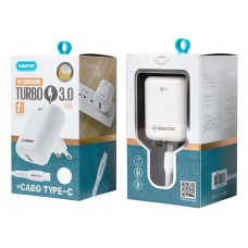 Kit Carregador Turbo Com Cabo Type-C Kimaster - KT615 Branco
