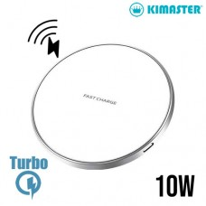 Carregador Wireless Turbo 10W Ultra Fino com LED Kimaster - KW130 Branco