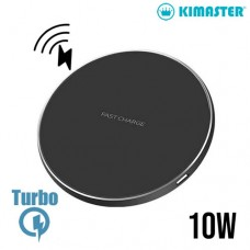 Carregador Wireless Turbo 10W Ultra Fino com LED Kimaster - KW130 Preto