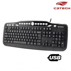 Teclado USB Multimídia KB-M500BK C3 Tech Preto
